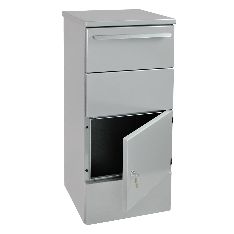hmf standbriefkasten paketbriefkasten paketbox mit einwurfklappe zylinderschloss ebay. Black Bedroom Furniture Sets. Home Design Ideas