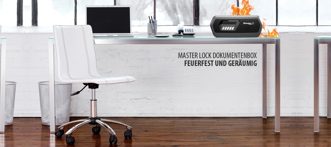 Master Lock Feuerfeste Dokumentenbox für DIN A4 Dokumente und Wertsachen