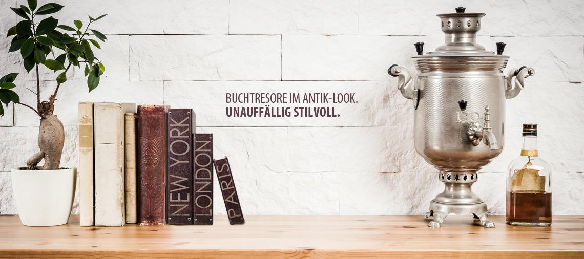 HMF Geldverstecke als Bücher im Antik-Look getarnt