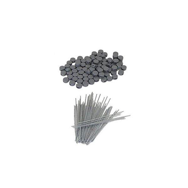100 Plomben Kunststoff 8 mm, 100 Plombendrähte 100 mm für Spendendose, HMF 45200