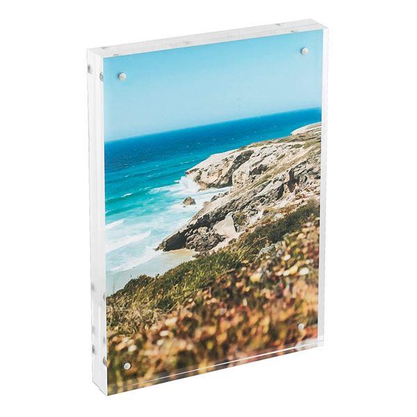 Magnetischer Bilderrahmen aus Acrylglas, HMF 46973, 15 x 21 x 1,5 cm, Transparent
