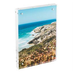 Magnetischer Bilderrahmen aus Acrylglas, HMF 46972, 10,5 x 15 x 1,5 cm, Transparent