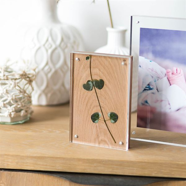 Magnetischer Bilderrahmen aus Acrylglas und Holz, HMF 46991, 10 x 15 x 1,5 cm