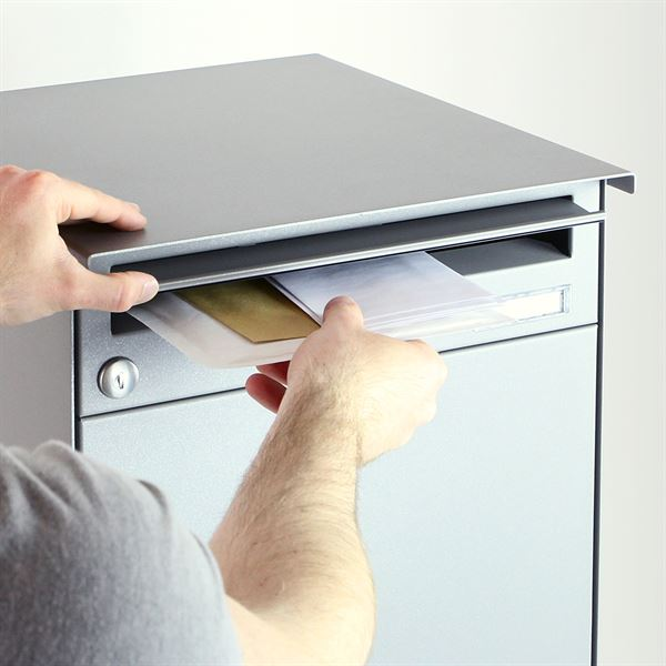 Briefkasten Paketbox mit Einrastverschluss, HMF 52241, 38,2 x 66,7 x 42 cm, graualuminium matt