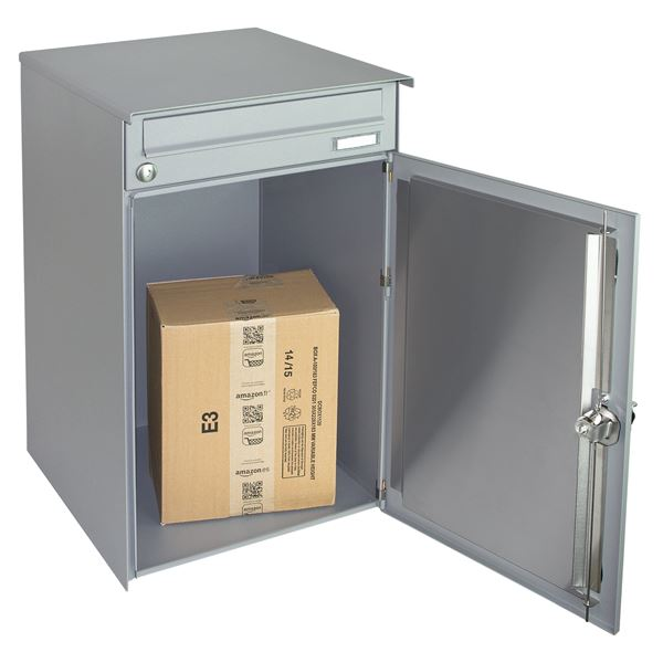 Briefkasten Paketbox, Einrastverschluss, Standfüße, HMF 52248, 56,2 x 140 x 42 cm, graualuminium mat