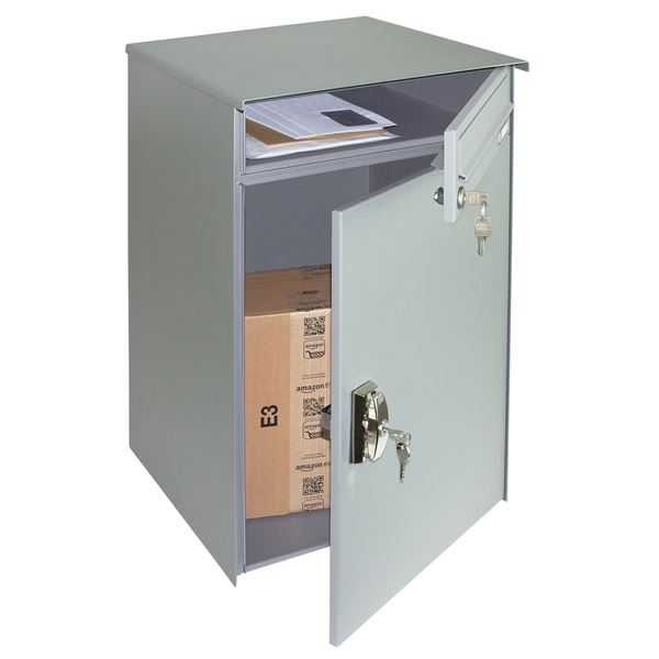Briefkasten Paketbox, Einrastverschluss, Standfüße, HMF 52248, 56,2 x 140 x 42 cm, graualuminium matt