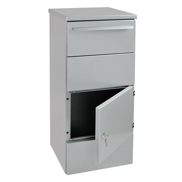 Paketbriefkasten Standbriefkasten, Einwurfklappe, HMF 52244, 41,5 x 102,5 x 40 cm, graualuminium