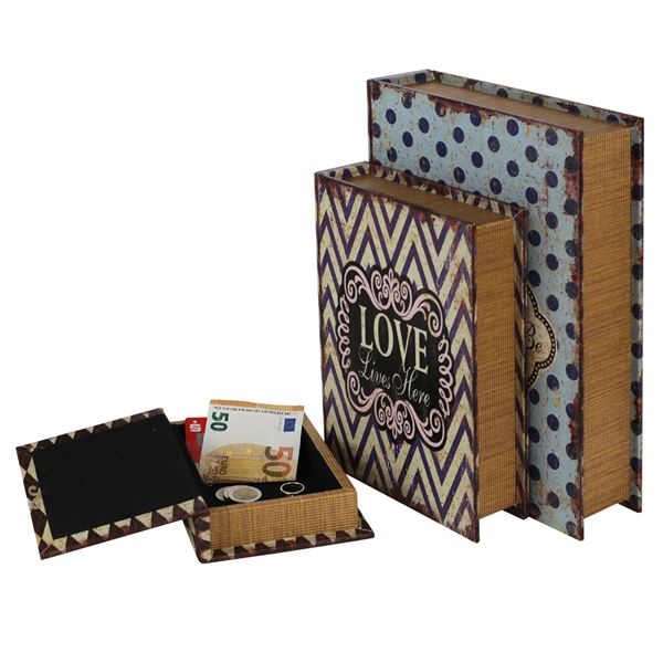 Buchtresor 3er Set Love, Antik-Look, HMF 80960, 32,5 x 23,5 x 7,5 cm