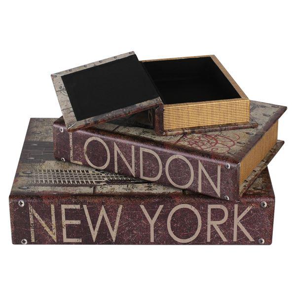 Buchtresor 3er Set Städte, Antik-Look, HMF 80961, 32,5 x 23,5 x 7,5 cm