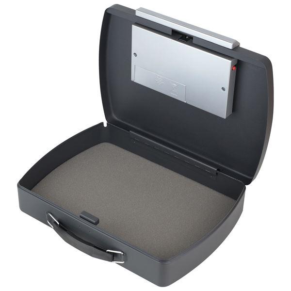 Dokumentensafe Elektronikschloss Drahtseil, HMF 1608-02, 33 x 23,6 x 8,8 cm, schwarz