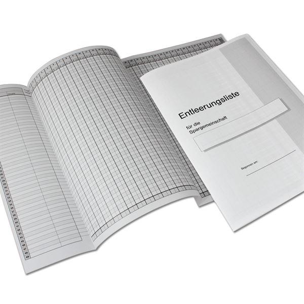 Entleerungsliste für Sparschränke, HMF 105109