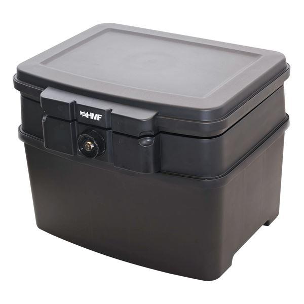 Feuerfeste Wasserdichte Dokumentenbox, HMF 250453, DIN A4 Register, Schwarz