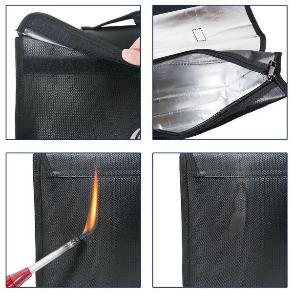 Feuerfeste Dokumententasche DIN A4 XL Hochformat, HMF 44148, 38 x 28 x 6,5 cm