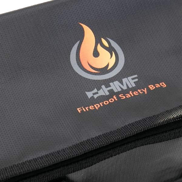 Feuerfeste Tasche für LiPo Akkus mit Reißverschluss, HMF 44160, 25 x 15 x 16 cm, Schwarz