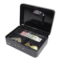 Geldkassette 4er Zahlenkombinationsschloss, HMF 207-02, 25 x 18 x 9 cm, schwarz