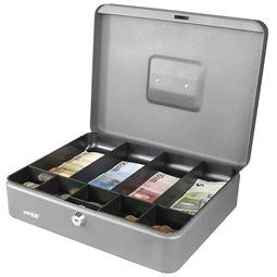 Geldkassette Münzeinsatz Scheinfächer, HMF 10019, 30 x 24 x 9 cm silber