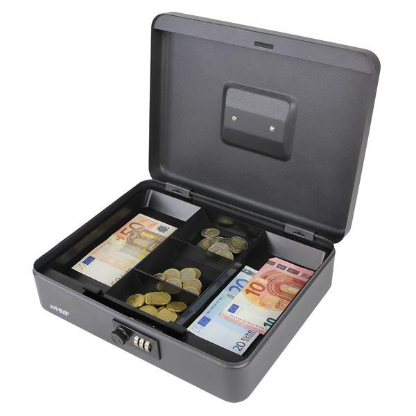 Geldkassette Zahlenkombinationsschloss, HMF 10017-02, 30 x 24 x 9 cm, schwarz