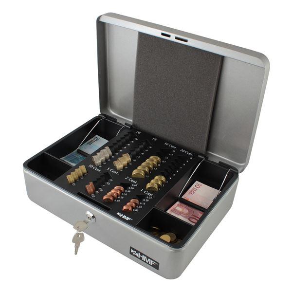 Geldkassette Euro-Münzeinsatz Scheinfächer, HMF 22136-09, 36 x 25 x 11 cm, silber