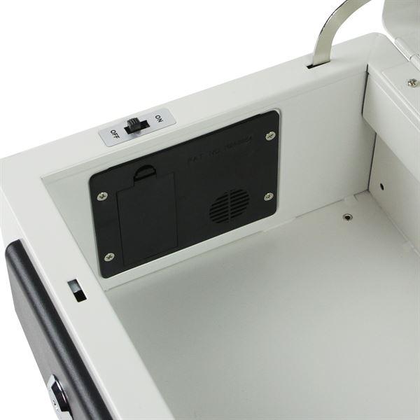 Geldkassette mit integriertem Alarm, Münzeinsatz, Belegklammer, HMF 10232-07, 32 x 22,5 x 14 cm Lich