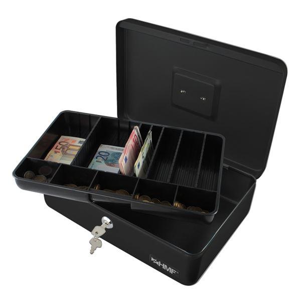 Geldkassette individuelle Facheinteilung, HMF 22036-02, 36 x 25 x 11 cm, schwarz