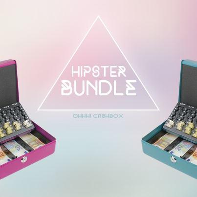 Hipster Bundle Geldkassette Euro-Münzzählbrett SET, HMF 10015700, 30 x 24 x 9 cm, pink und petrol