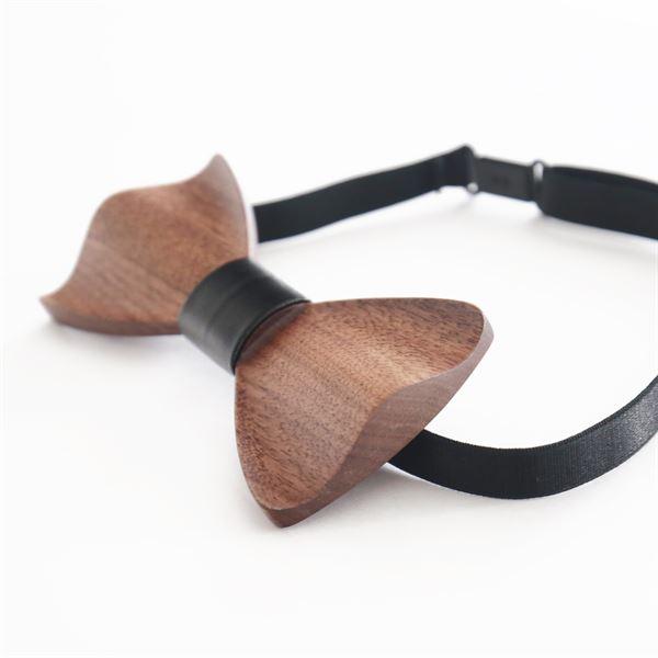 Holzfliege Männer Handarbeit, HMF 3850-02, 6 x 12 x 1 cm, schwarz
