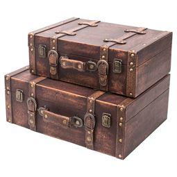 Holzkoffer im Vintage-Design, Klassik, HMF 6433, 2er Set