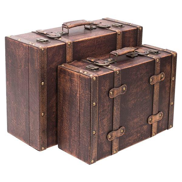 Holzkoffer im Vintage-Design, Klassik, HMF VKO103, 2er Set