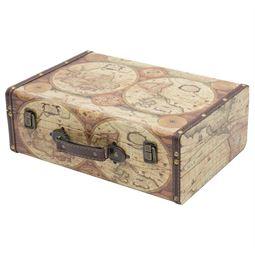 Holzkoffer im Vintage-Design, Weltkarte Farbe, HMF VKO104, verschiedene Größen