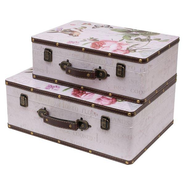 Holzkoffer im Vintage-Design, Rose, HMF 6432, 2er Set