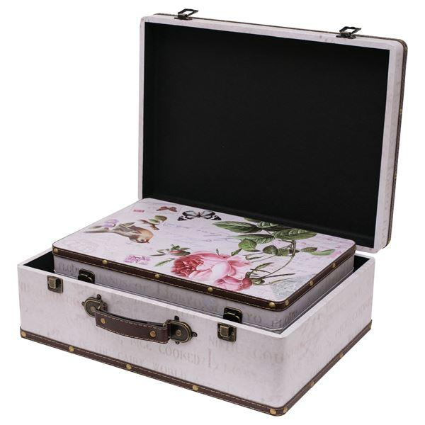 Holzkoffer im Vintage-Design, Rose, HMF VKO102, 2er Set