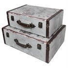 Holzkoffer im Vintage-Design, Weltkarte, HMF 6430, 2er Set