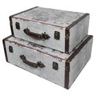Holzkoffer im Vintage-Design, Weltkarte, HMF VKO101, 2er Set