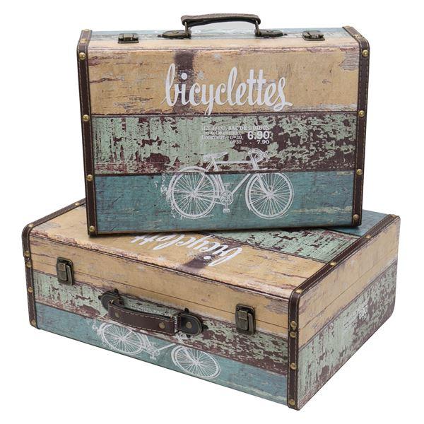 Holzkoffer im Vintage-Design, Fahrrad, HMF VKO106, 2er Set