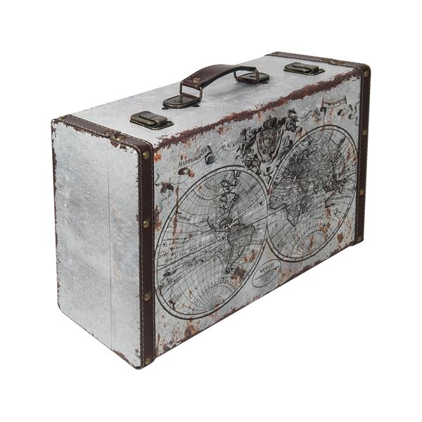 Holzkoffer im Vintage-Design, Weltkarte, HMF 6430, verschiedene Größen
