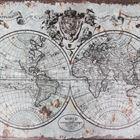 Holzkoffer im Vintage-Design, Weltkarte, HMF VKO101, verschiedene Größen