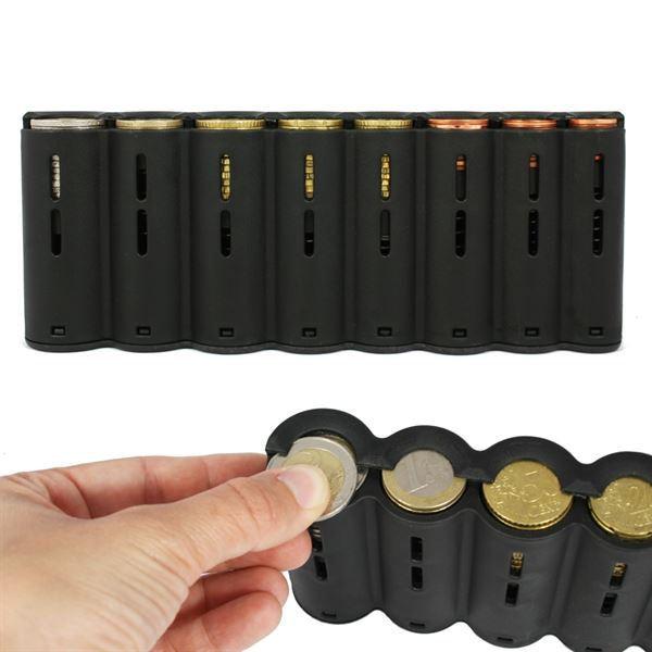 Kellnerbörse Euro-Münzsortierer Tragegurt, HMF 48830-02, 20,5 x 10 x 7 cm, Leder