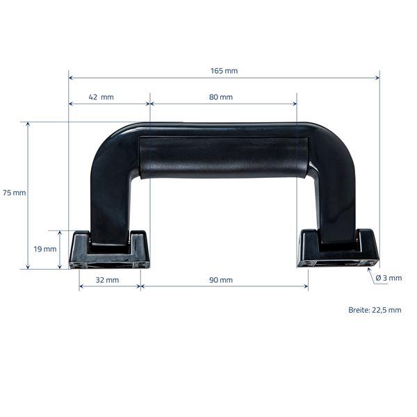 Koffergriff 2er Set, HMF 14971-02, 16,5 x 7,5 cm, schwarz