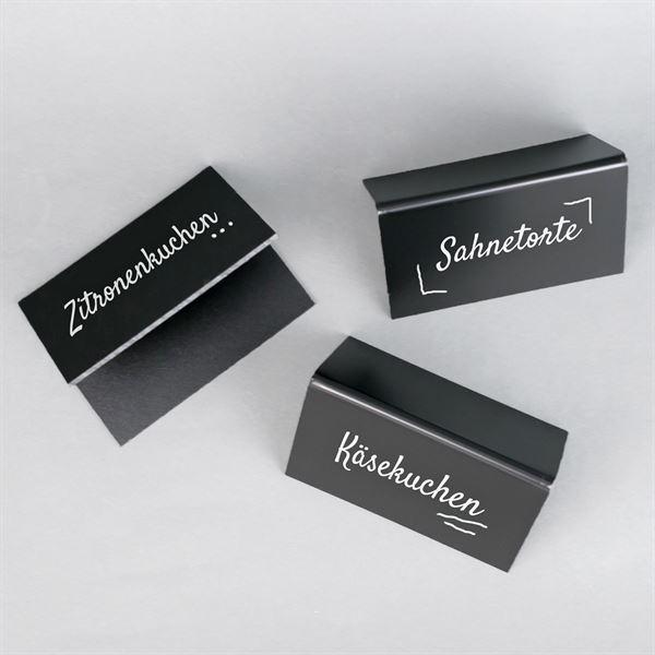 Tischaufsteller Kreidetafel A-Ständer, 10er Set, HMF 46413, schwarz, 10 x 7,5 cm