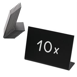Tischaufsteller Kreidetafel L-Ständer, 10er Set, HMF 46424, schwarz, 10 x 7,5 cm