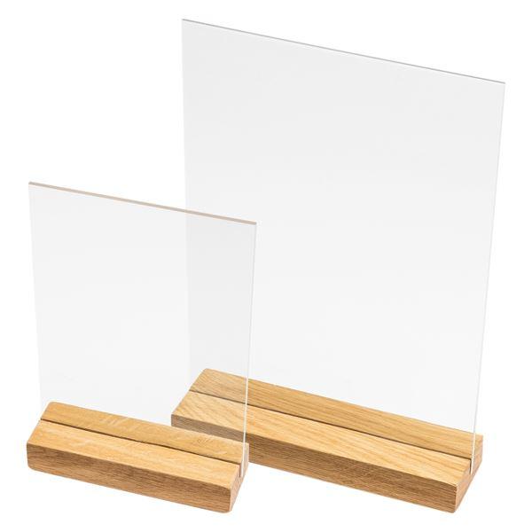 Acryl Tischaufsteller Kreidetafel mit Holzfuß, HMF 46444, DIN A4 Hochformat