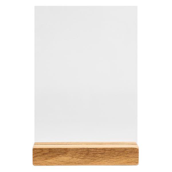 Acryl Tischaufsteller Kreidetafel mit Holzfuß, HMF 46442, DIN A5 Hochformat