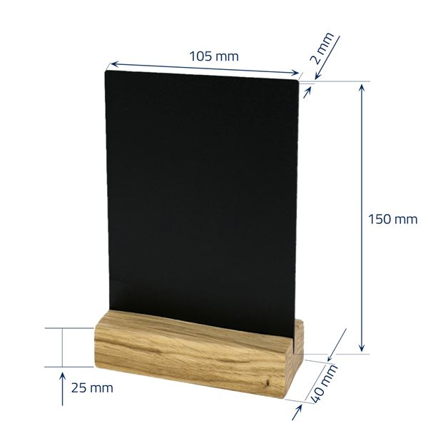 Tischaufsteller Kreidetafel mit Holzfuß, HMF 4645, Hochformat, schwarz