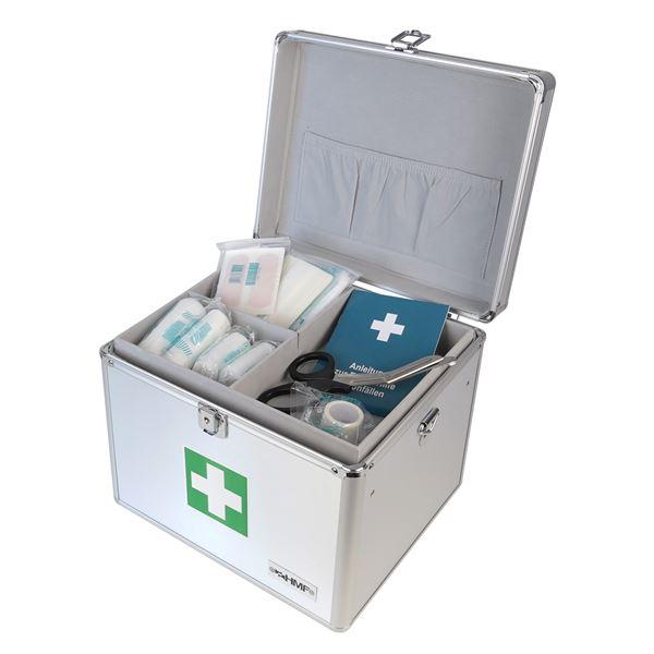Medizinkoffer, Erste Hilfe Koffer, Aluminium, HMF 14702-09, 30 x 25 x 25 cm, silber