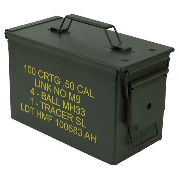 Munitionskoffer, US Ammo Box, Metallkiste, HMF 70011, 30 x 19 x 15,5 cm, grün