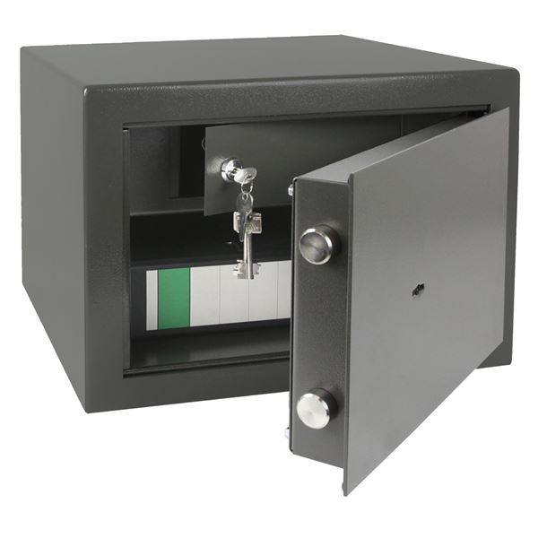 Wertschutzschrank Doppelbartschloss, abschließbarer Innentresor, HMF 43300-1111, 42 x 30 x 38 cm, An