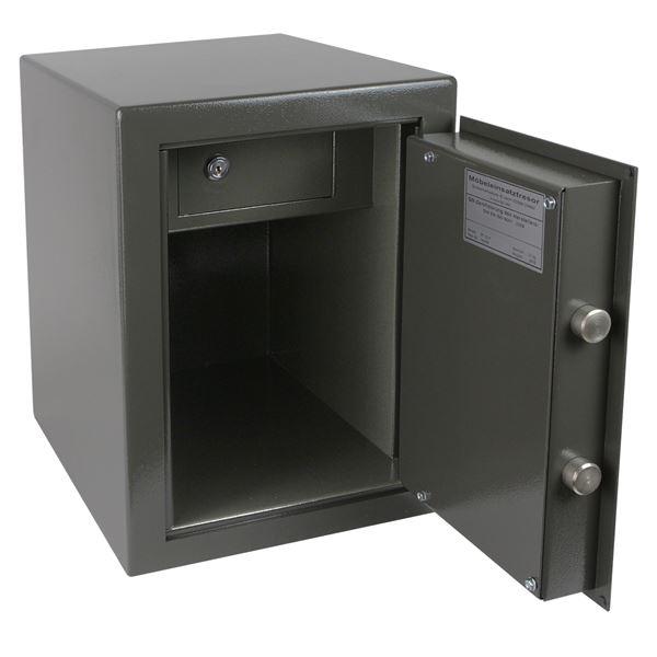 Wertschutzschrank Doppelbartschloss, abschließbarer Innentresor, HMF 43400-1111, 30 x 42 x 38 cm, An