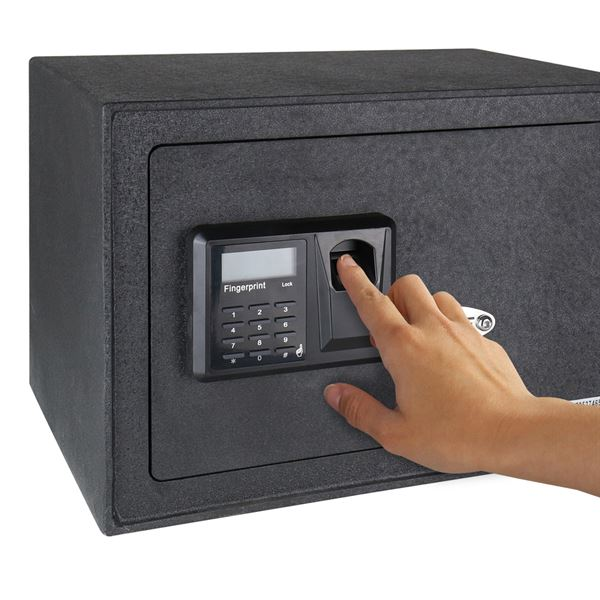 Möbeltresor Elektronikschloss, Fingerabdruckscan und Schlüsselschloss, HMF 49122, 35 x 25 x 25 cm
