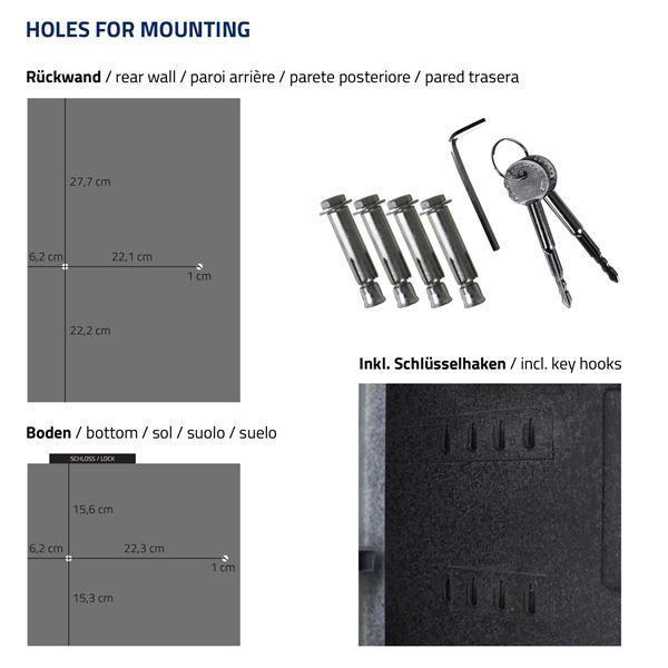 Möbeltresor Elektronikschloss, Fingerabdruckscan und Schlüsselschloss, HMF 49125, 35 x 50 x 31 cm