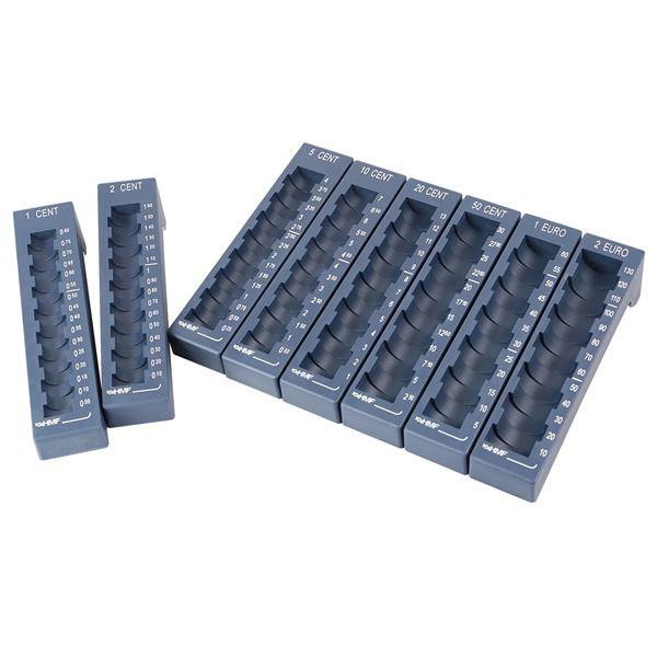 Münzrillen Set, 1 Cent bis 2 Euro Münzreihen, HMF 3110-05, 17,5 x 4 x 4,5 cm, blau